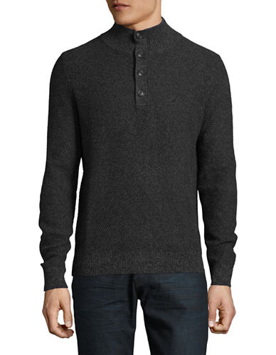 Nautica Mock Neck Quarter-Button Sweater-NAVY-Large