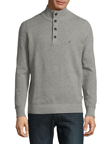 Nautica Quarter-Button Knit Sweater-LIGHT GREY-Small