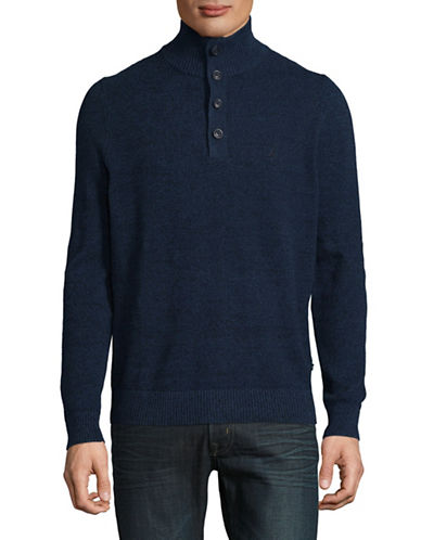 Nautica Quarter-Button Knit Sweater-BLUE-Large