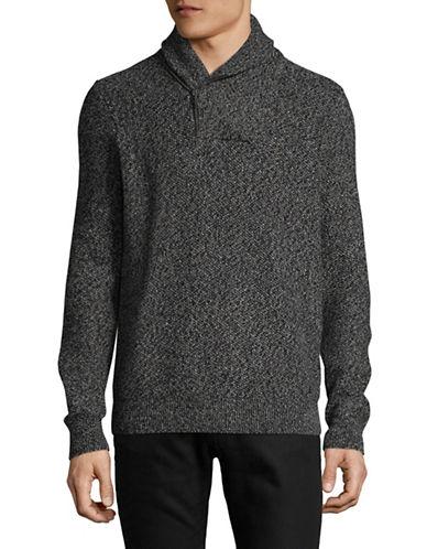 Nautica Heathered Cotton Knit Sweater-BLACK-Large