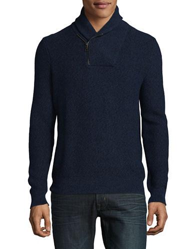 Nautica Heathered Cotton Knit Sweater-BLUE-Medium