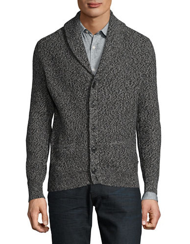 Nautica Marled Cotton Knit Cardigan-BLACK-Large