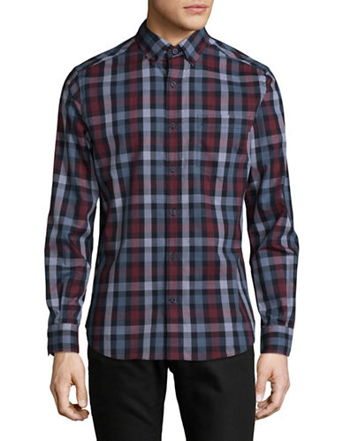 Nautica Deluxe Plaid Shirt-NAVY-Medium