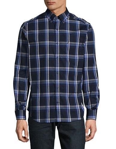 Nautica Stripe Check Shirt-NAVY-Medium