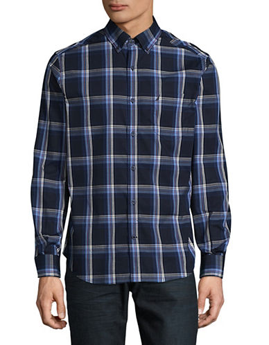 Nautica Stripe Check Shirt-NAVY-X-Large