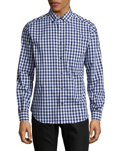 Nautica Gingham Check Shirt-BLUE-Medium