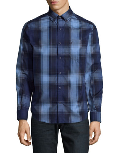 Nautica Wide Plaid Sport Shirt-MARTIME NAVY-Small
