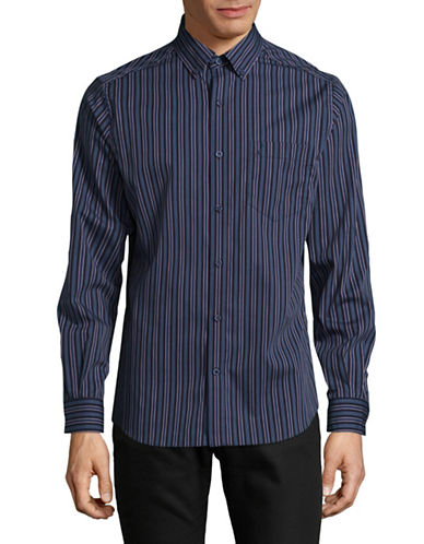 Nautica Pop Stripe Shirt-NAVY-Large