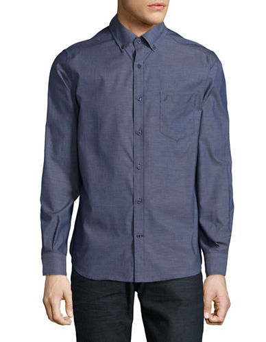 Nautica Cotton Sport Shirt-BLUE-X-Large