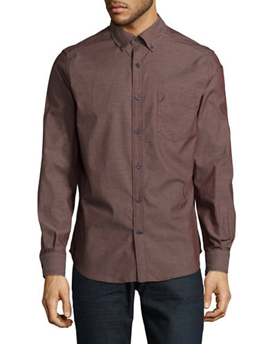 Nautica Cotton Sport Shirt-RED-Small