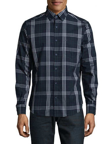 Nautica Plaid Pop Pocket Cotton Sport Shirt-MARTIME NAVY-XX-Large