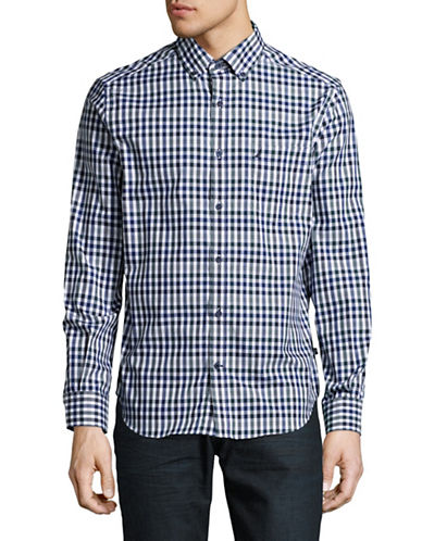 Nautica Mini Plaid Sport Shirt-BRIGHT WHITE-Large