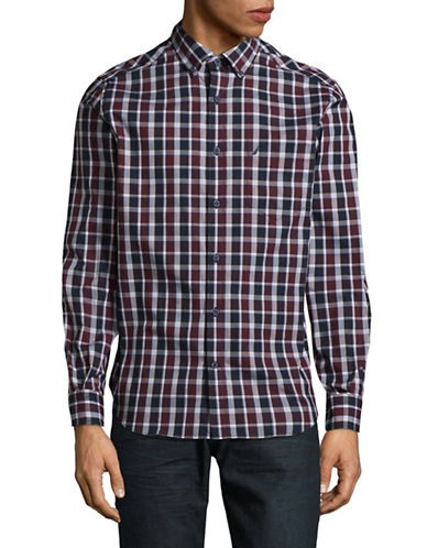 Nautica Plaid Cotton Sport Shirt-RED-Large