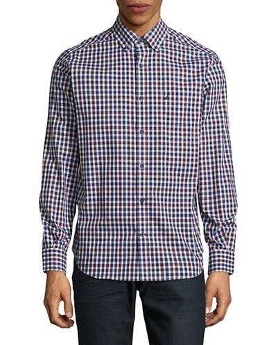 Nautica Plaid Cotton Sport Shirt-WHITE-Large