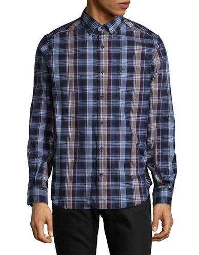 Nautica Plaid Cotton Sport Shirt-BLUE-X-Large