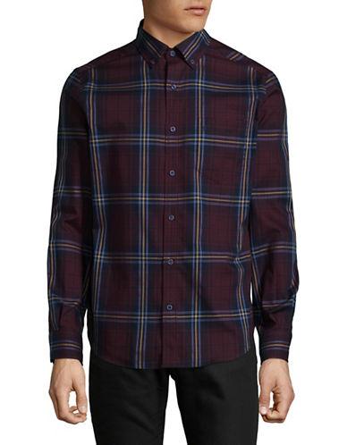 Nautica Plaid Cotton Sport Shirt-RED-Large
