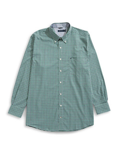 Nautica Big and Tall Printed Sport Shirt-GREEN-3X Tall