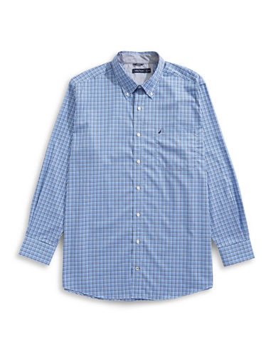 Nautica Big and Tall Printed Sport Shirt-BLUE-1X Tall