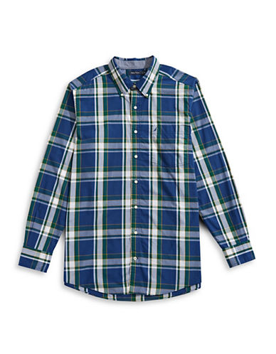 Nautica Tartan Pop Cotton Dress Shirt-ESTATE BLUE-4X Big