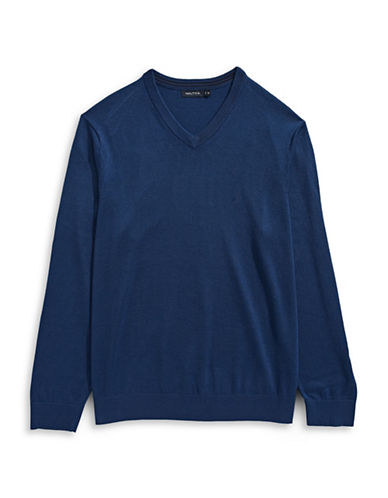 Nautica Big and Tall V-Neck Sweater-ESTATE BLUE-4X Big