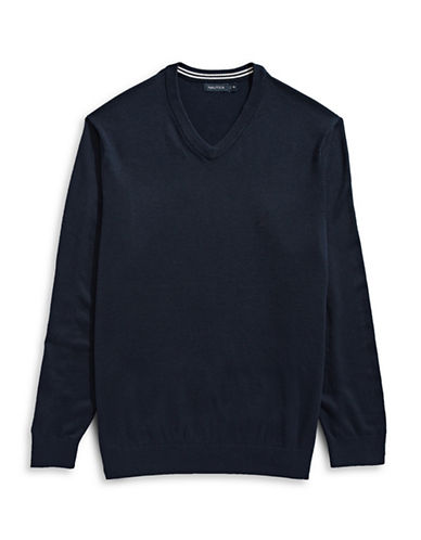 Nautica Big and Tall V-Neck Sweater-NAVY-2X Big