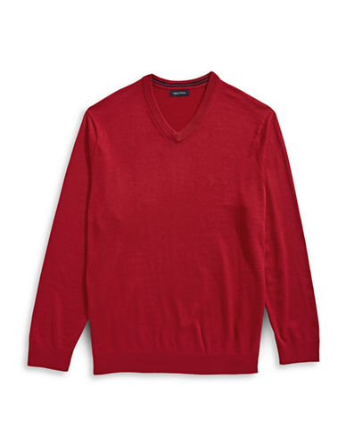 Nautica Big and Tall V-Neck Sweater-NAUTICA RED-3X Big