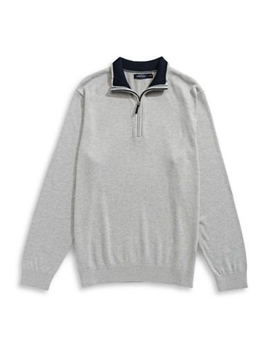 Nautica Big and Tall Half-Zip Sweater-GREY HEATHER-1X Tall