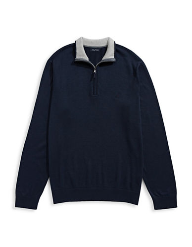 Nautica Big and Tall Half-Zip Sweater-TRUE NAVY-4X Tall