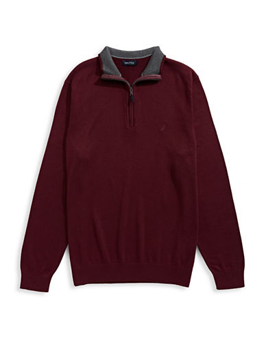 Nautica Big and Tall Half-Zip Sweater-ROYAL BURGUNDY-1X Tall