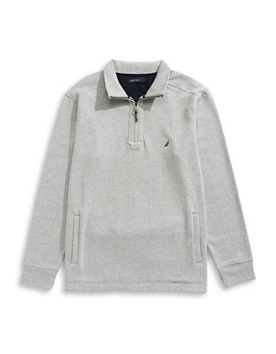Nautica Big and Tall Quarter-Zip Fleece Sweater-GREY HEATHER-3X Big
