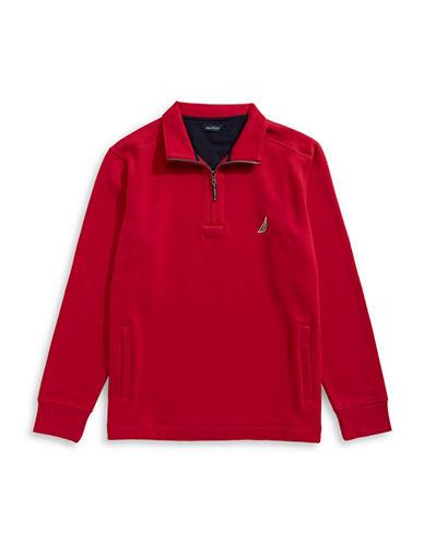 Nautica Big and Tall Quarter-Zip Fleece Sweater-NAUTICA RED-3X Big