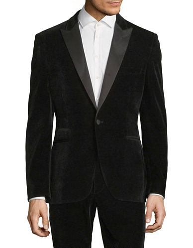 Lambretta Velvet Suit Jacket-BLACK-40 Tall