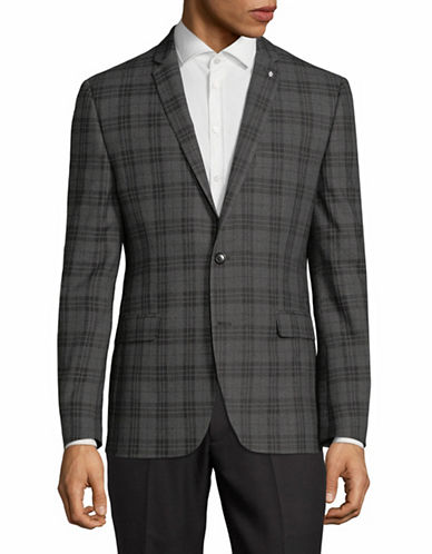 Lambretta Plaid Suit Jacket-GREY-42 Regular