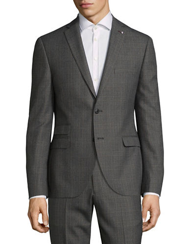 Lambretta Slim Fit Suit Jacket-CHARCOAL-42 Short