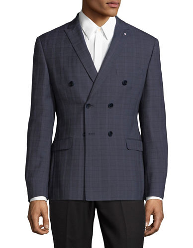 Lambretta Double-Breasted Suit Jacket-BLUE-40 Short