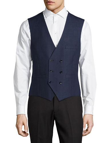 Lambretta Plaid Suit Vest-BLUE-46 Regular