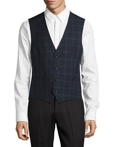 Lambretta Plaid Suit Vest-NAVY-44 Regular