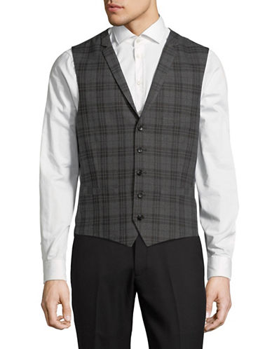 Lambretta Plaid Suit Vest-GREY-38 Regular