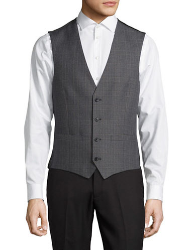 Lambretta Plaid Suit Vest-CHARCOAL-42 Regular