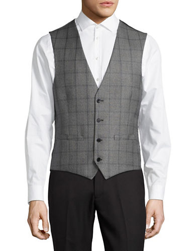 Lambretta Plaid Suit Vest-GREY-42 Regular
