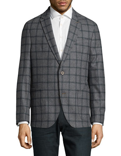 Bugatti Wool Windowpane Sports Jacket-GREY-44