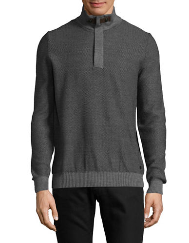 Bugatti Diamond Knit Quarter-Zip Sweater-GREY-Large