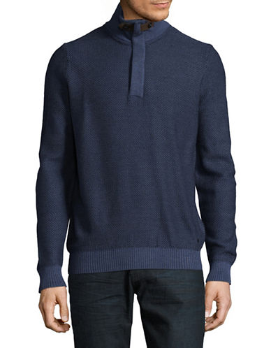 Bugatti Diamond Knit Quarter-Zip Sweater-BLUE-X-Large