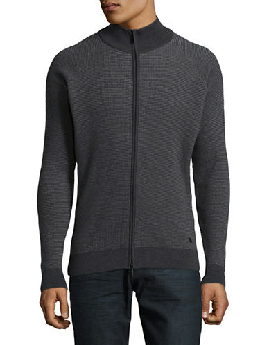 Bugatti Zip-Up Sweater-GREY-X-Large