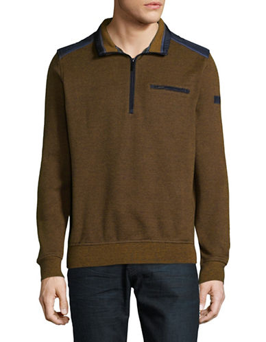 Bugatti Textured Long Sleeve Top-BROWN-XX-Large
