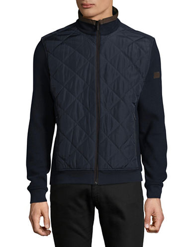 Bugatti Quilted Bomber Jacket-BLUE-Medium
