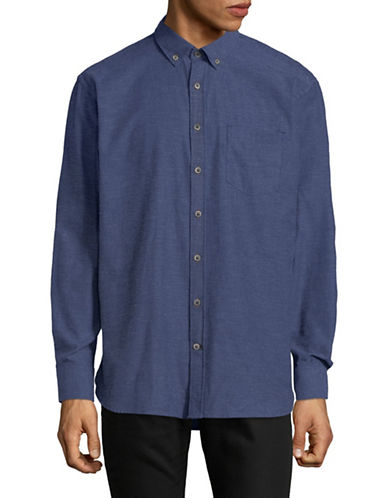 Bugatti Long-Sleeve Cotton Sport Shirt-BLUE-Large