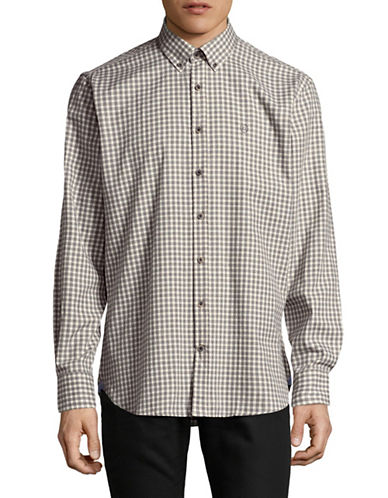 Bugatti Checkered Cotton Sport Shirt-GREY-Medium