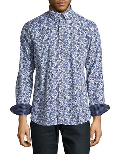 Bugatti Paisley Print Sport Shirt-BLUE-Medium