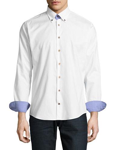 Bugatti Button-Down Collar Sport Shirt-WHITE-Large